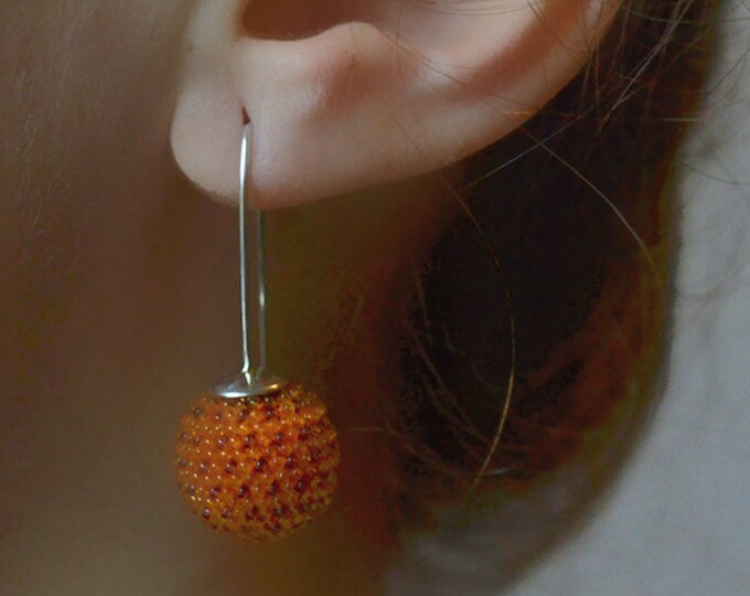 globe earrings orange violet  dots and silver hooks