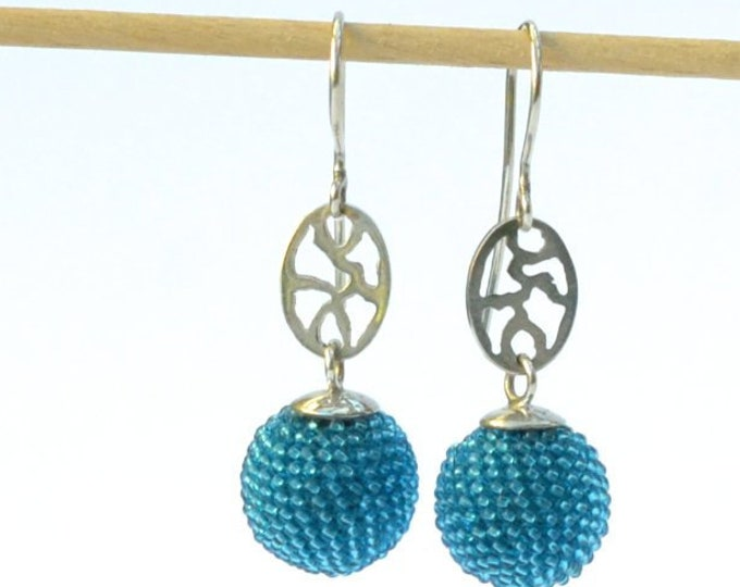 silver dangle earrings with beaded sphere turquoise