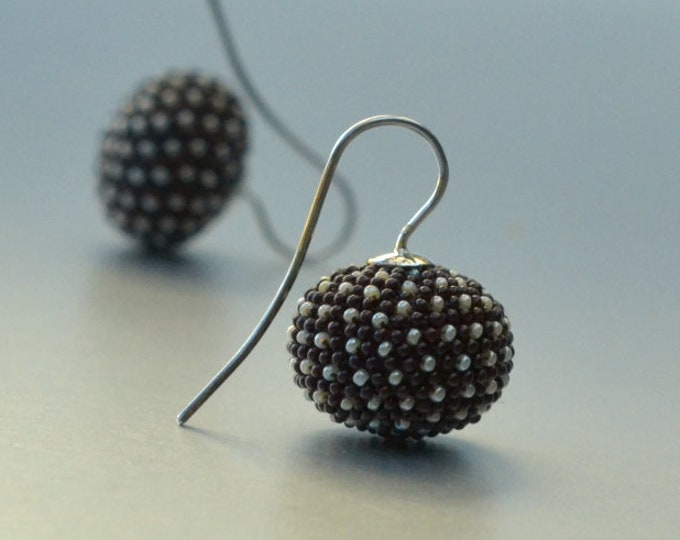 pumpkin earrings  brown with dots