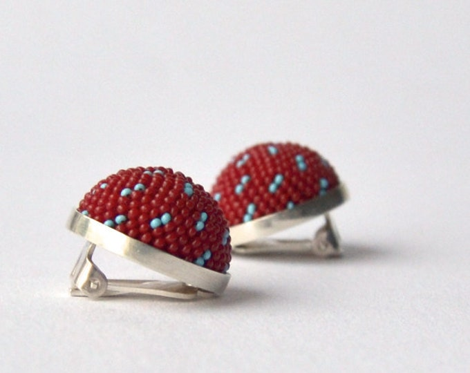 red clip on earrings  clips sterling silver and glass beads