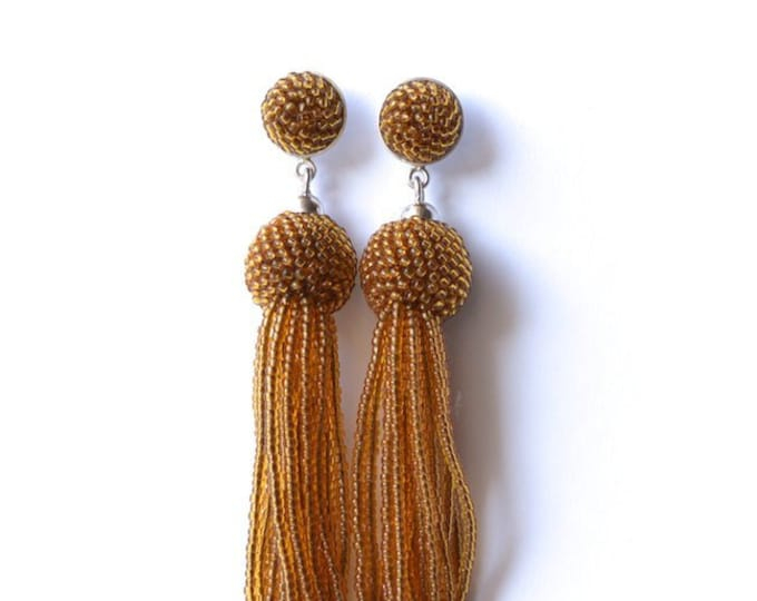 tassel earrings light brown fringe glass beads and silver