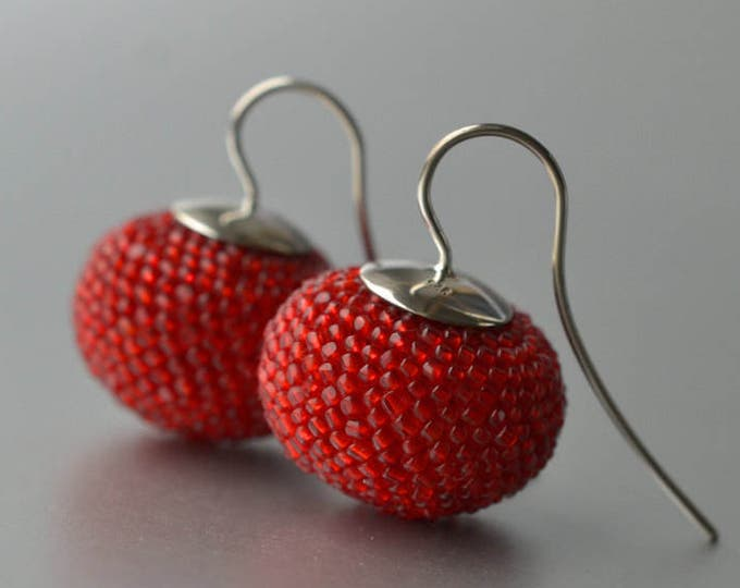 Big statement dangle earrings red antique beads and silver hooks