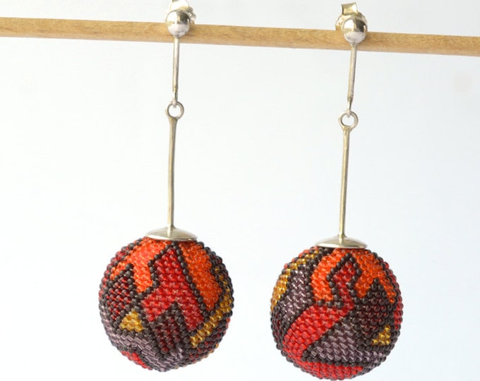 OOAK Statement earrings red and orange , big sphere silver post dangle earrings
