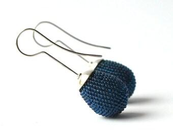 drop ear dangles with silver hooks in blue