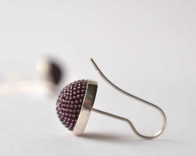 ear dangles aubergine silver