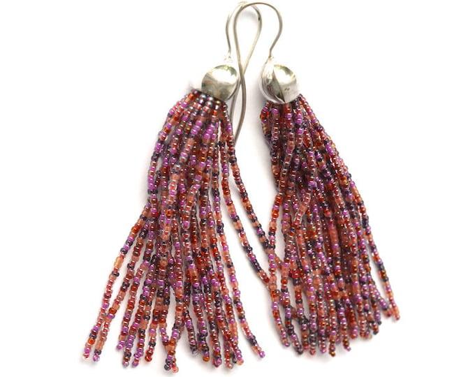 Tassel earrings glass beads long fringe dangle earrings mixed red