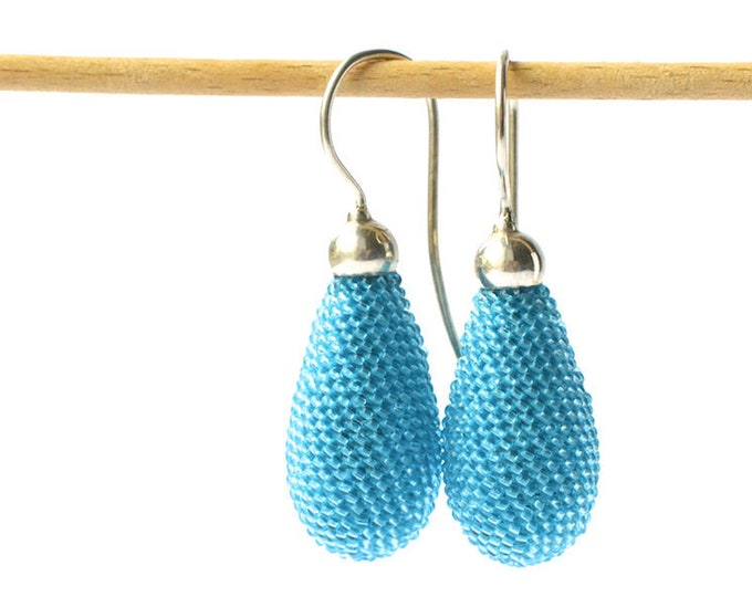 dangle earrings turquoise blue teardrops with silver hooks