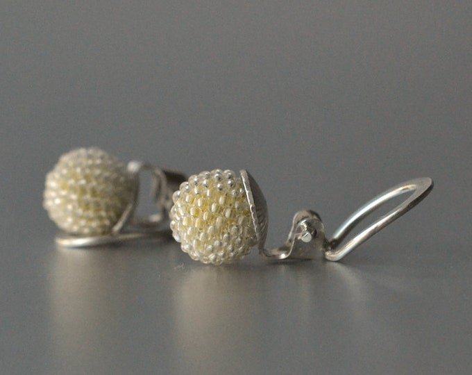 Clip on earrings yellow sterling silver and glass  beads