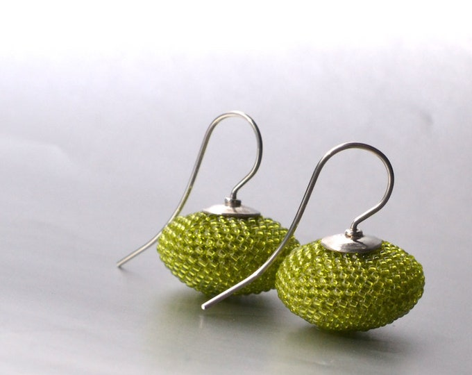 dangle earrings lime  green lentils with silver hooks