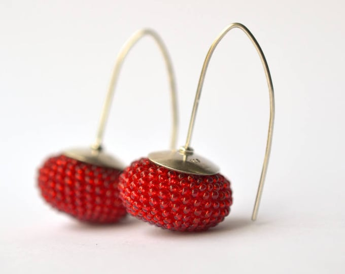 long Earrings poppy red