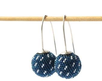 globe earrings silver hooks sashiko style