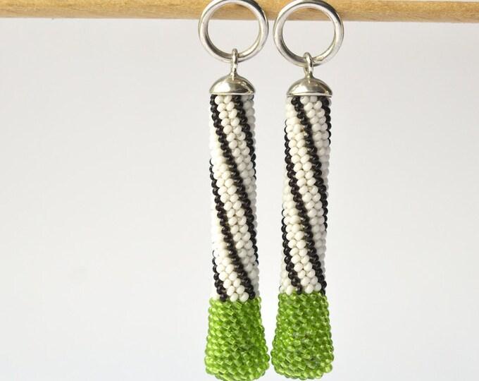 long dangle earrings beaded green silver posts