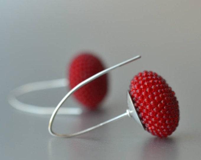 dangle earrings red long Earrings by donauluft hooks modern style from silver 925 lentil shape earrings