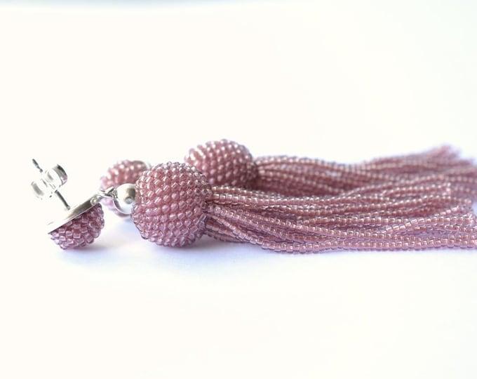 tassel earrings rose fringe glass beads and silver