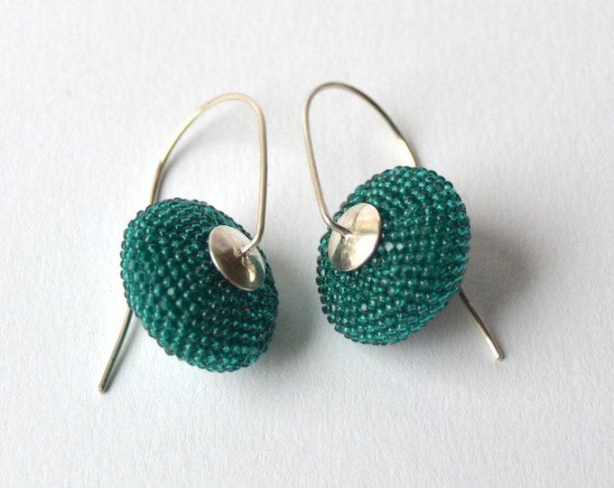 dangle earrings green long Earrings by donauluft hooks modern style from silver 925 lentil shape earrings