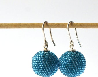 beaded globe earrings turquoise blue