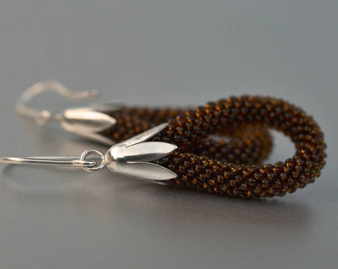 Dangle earrings brown beadwork silver hooks