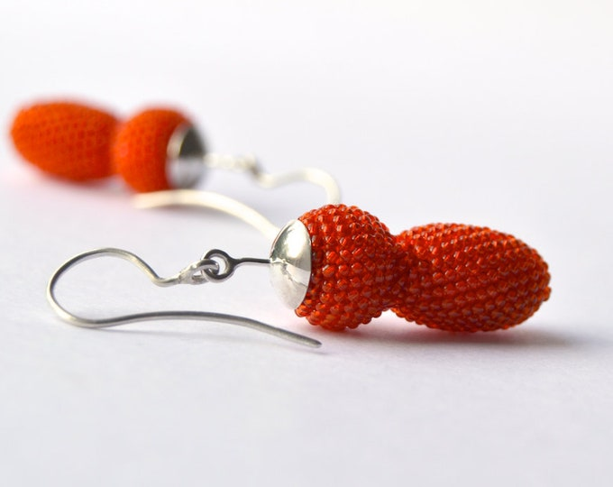 earrings orange glass beads and silver