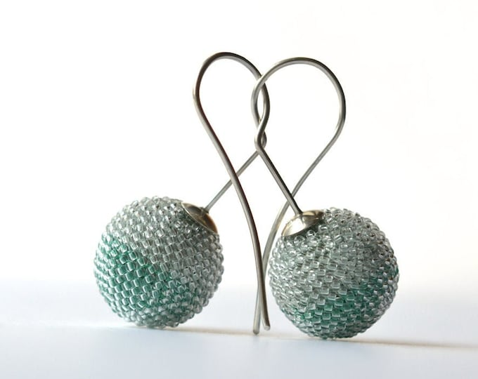 OOAK Ear jewelry globe earrings silver hooks
