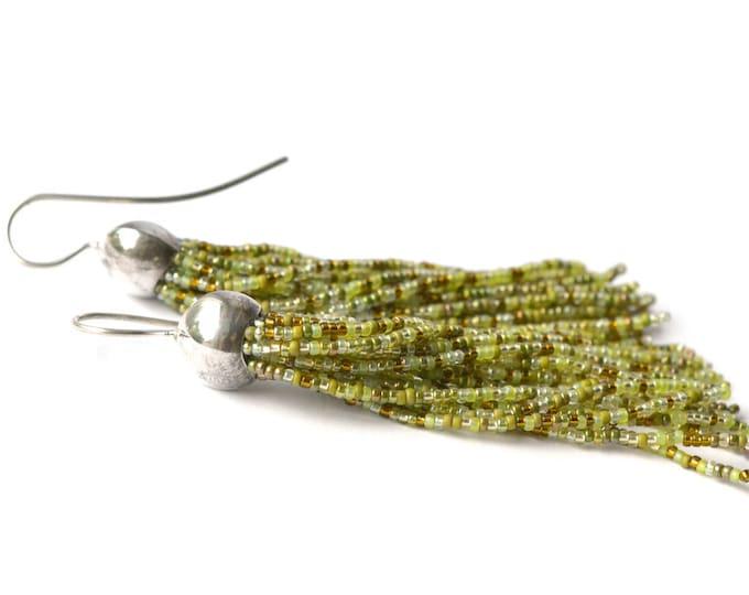 Tassel earrings glass beads long fringe dangle earrings mixed green
