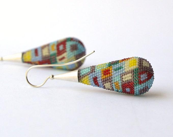 dangle earrings  big drop ear dangles , multicolor
