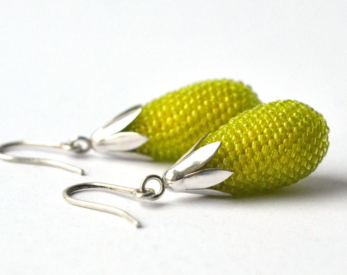 dangle earrings chartreuse  green teardrops with silver tulip hooks