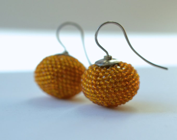 earrings honey colored  with silver hooks