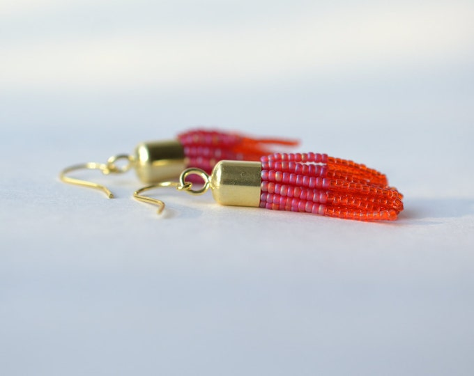 Tassel earrings pink orange gold filled
