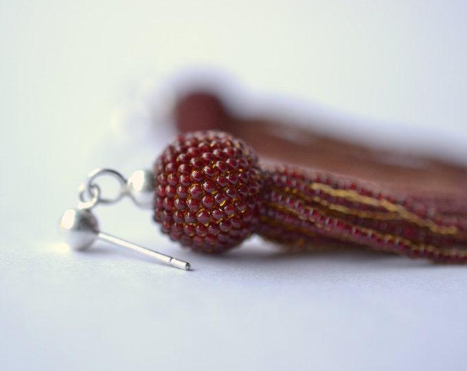 tassel earrings  red fringe silver and glass beads