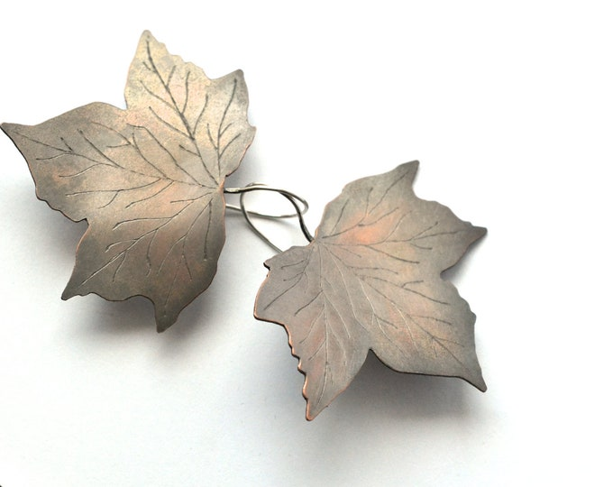 ivy earrings copper with silver hooks