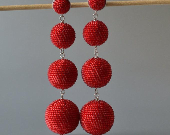 OOAK big  Statement dangle earrings  red with silver posts bead crochet