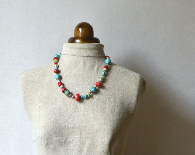 One of a kind necklace , handmade of gemstones, glass and silver.