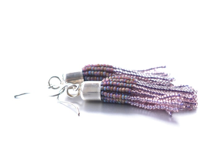 Tassel earrings soft lilac rose with silver caps and hooks