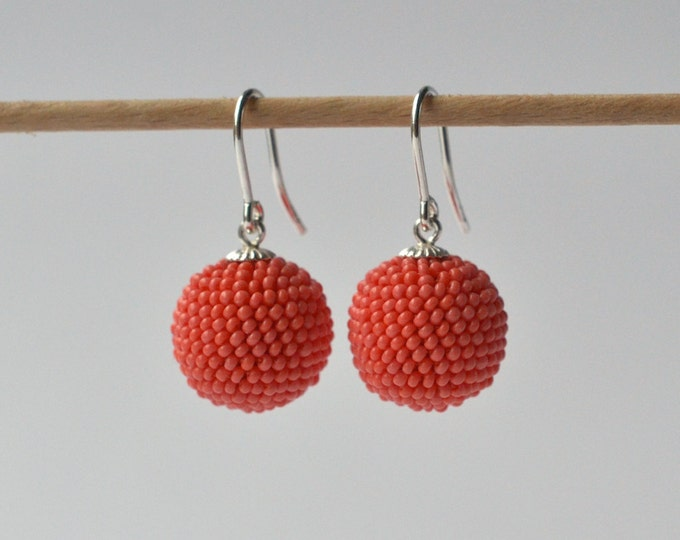 silver earrings light coral red glass beads globe dangle earrings