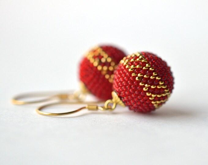 chinese wedding earrings  globe earrings  gold red