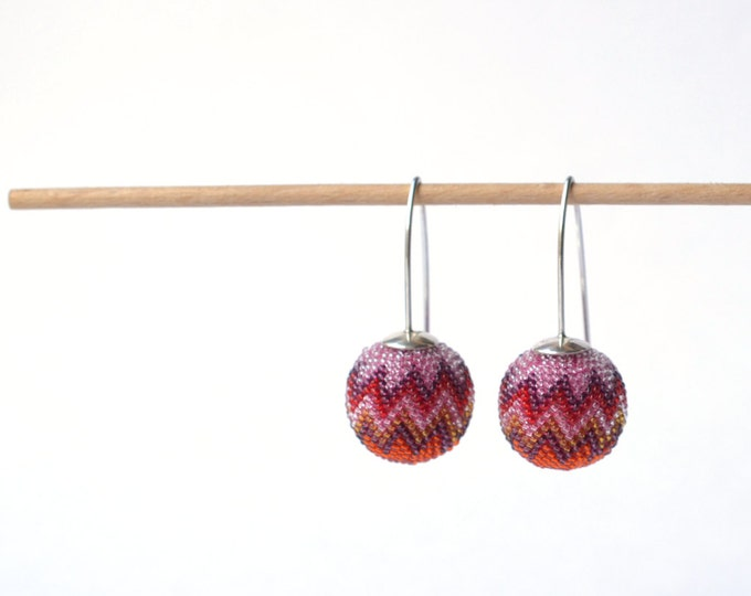 red pink  earrings Chevron globe dangles OOAK