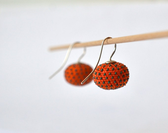 Dangle earrings orange with silver hooks , statement beaded earrings orange , pumpkin shaped by donauluft