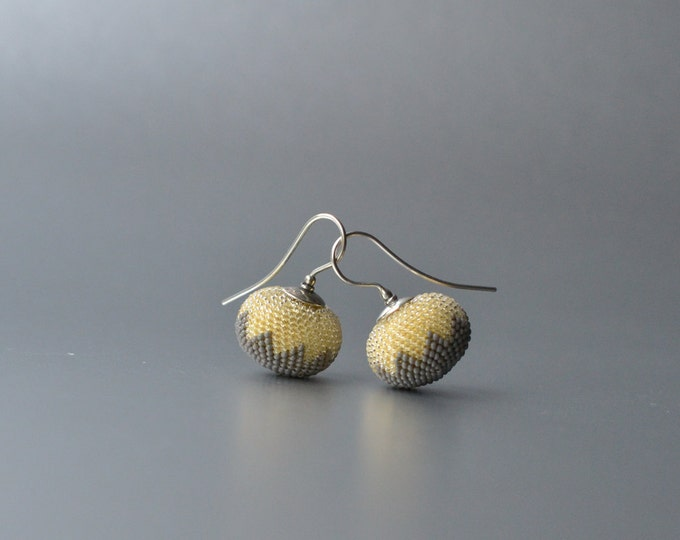 earrings chevron grey yellow