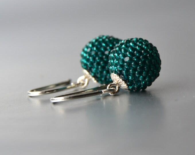 globe earrings emerald with silver hooks