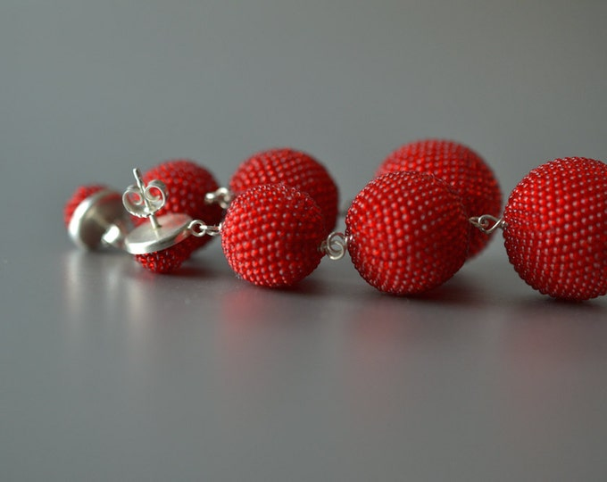 OOAK big  Statement dangle earrings  red with silver posts bead crochet