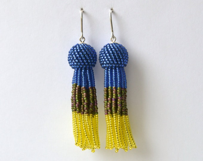 Tassel earrings blue and yellow, fringe dangle earrings for fashionistas