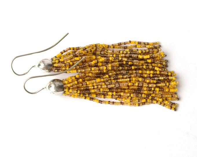 Tassel earrings glass beads long fringe dangle earrings mixed yellow