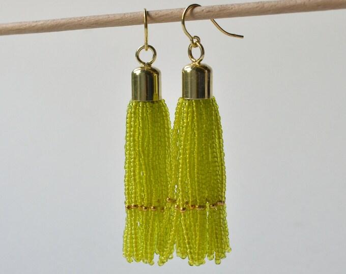 Tassel earrings gold filled  lime green glass beads