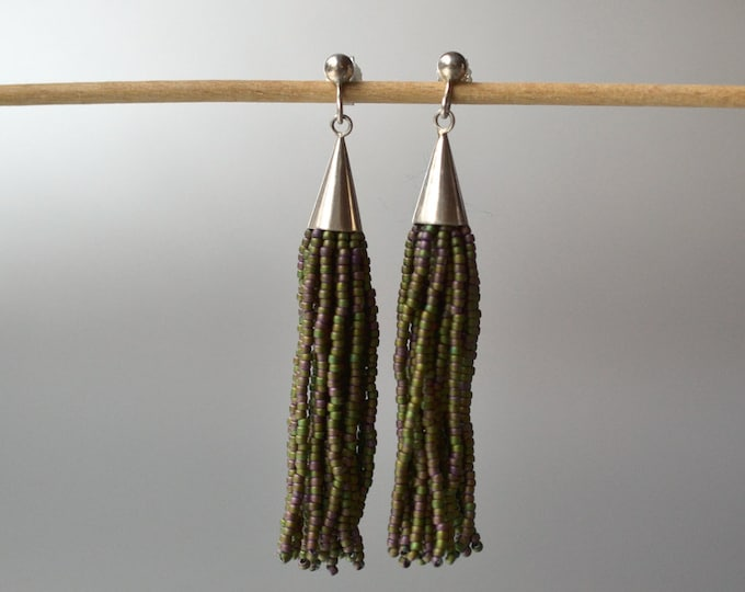 fringe earrings green Donauluft