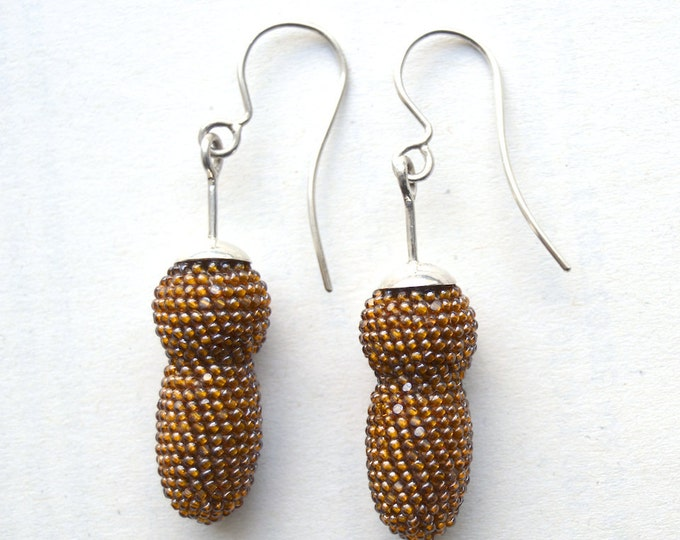 light brown beaded silver earrings caramel