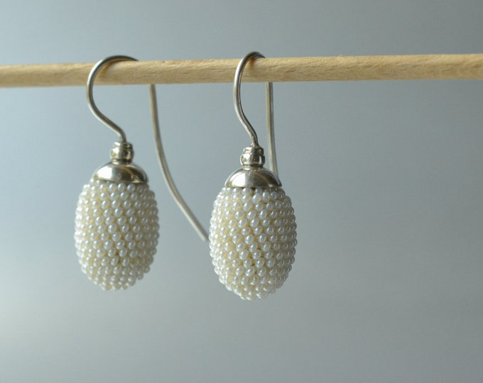 pearly earrings olives silver dangles bridal accessory
