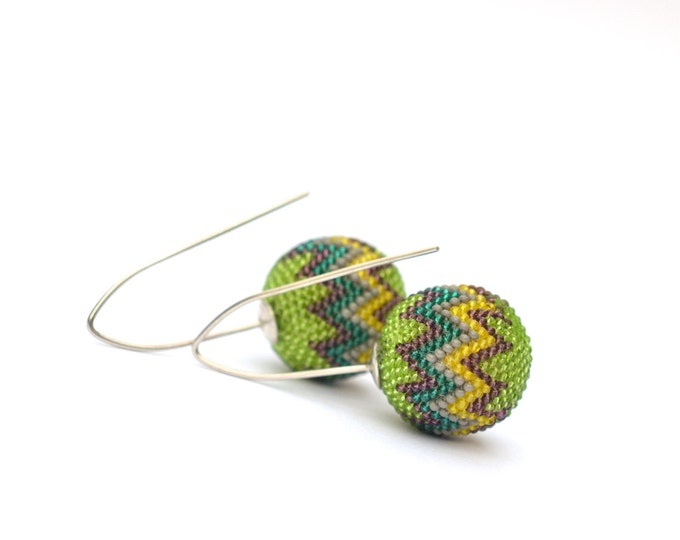 green earrings Chevron globe dangles OOAK