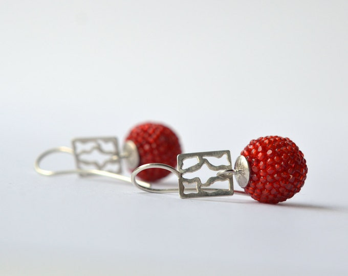 beaded ear dangles red glass beads and silver