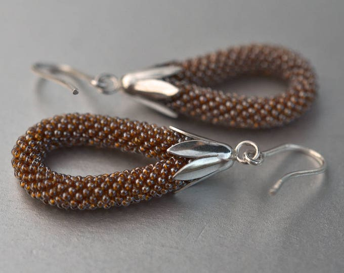 Dangle earrings  silver, toffee glass beads