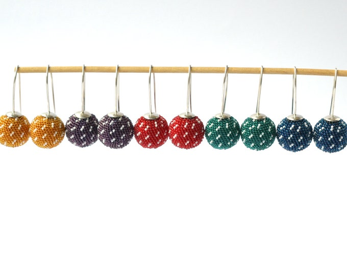 globe earrings green sashiko style